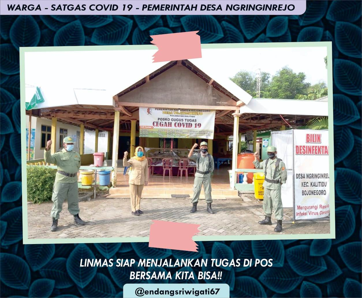 Kades Ngringinrejo, Endang Sri Wigati MPd, didampingi Linmas siap siaga melaksanakan pencegahan virus Covid-19.